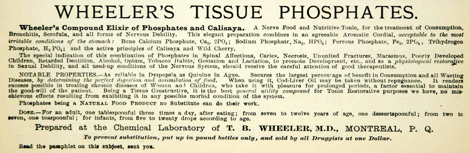 1894 Ad TB Wheeler MD Compound Elixir Phosphates Calisaya Medicine Health YBM2