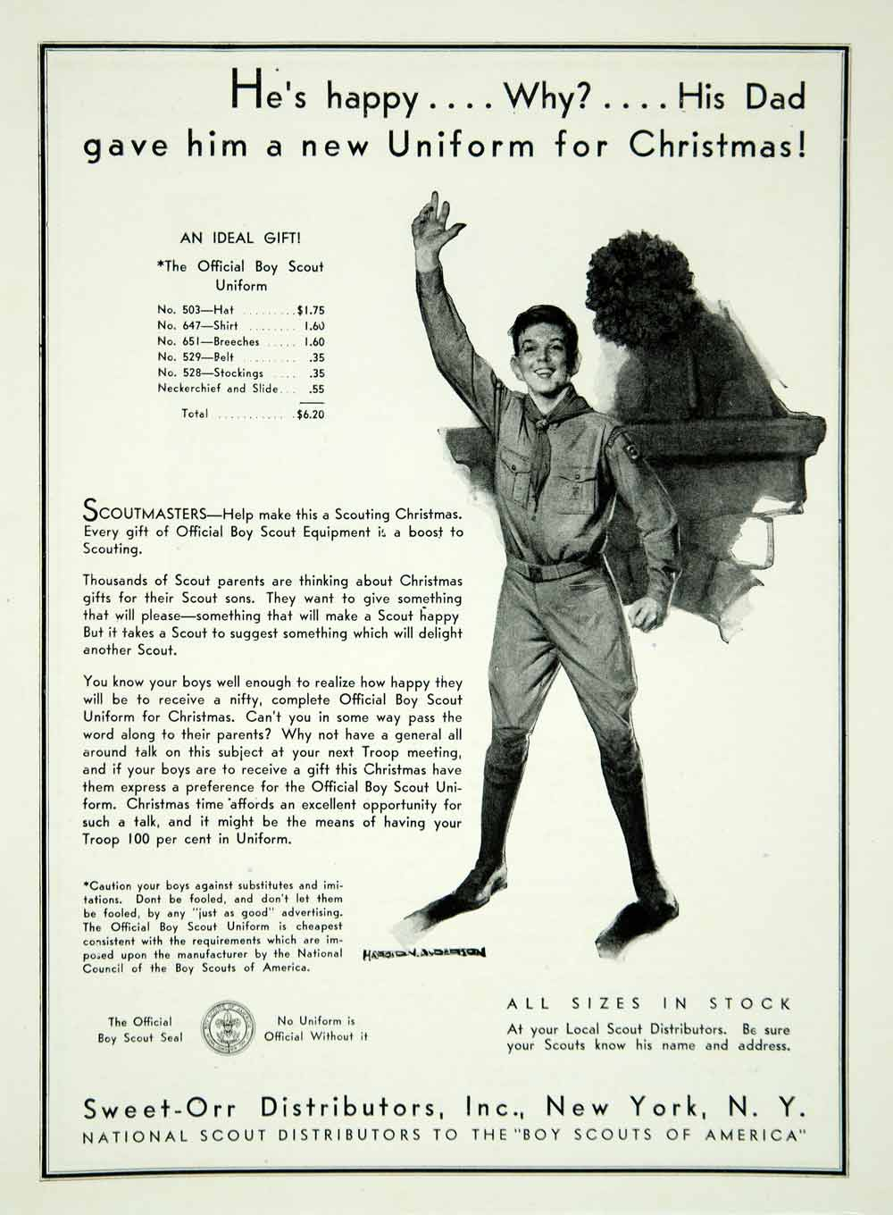1932 Ad Harold N Anderson Art Sweet-Orr Boy Scout Uniforms Clothing YBSA1