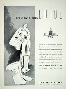 1936 Ad Vintage Wedding Dress Veil Bride Blum Store Philadelphia Bridal YBSM1