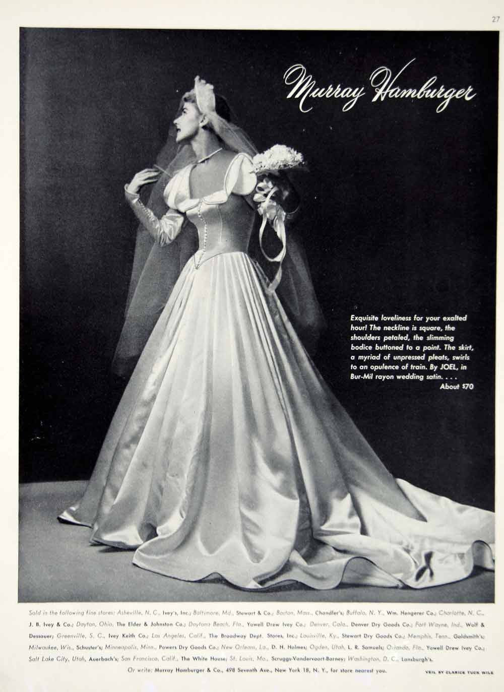 1949 Ad Vintage Murray Hamburger Satin Wedding Dress Bride Bridal Gown –  Period Paper