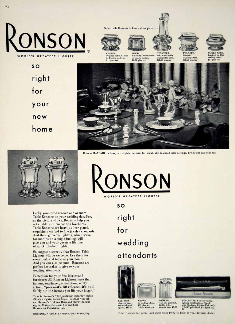 1949 Ad Vintage Ronson Table Cigarette Lighter Silverplated Wedding Gift YBSM1