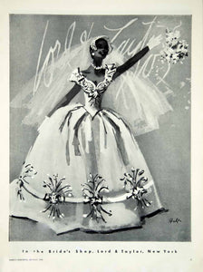 1956 Ad Vintage Wedding Dress Gown Bride Bridal Fashion Illustration Lord YBSM1