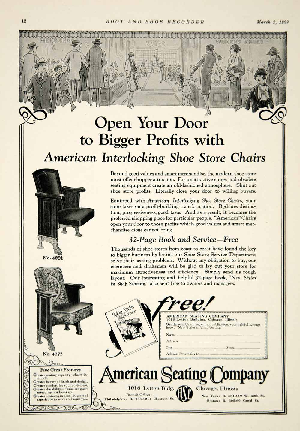 1929 Ad American Seating Company Shoe Store Chairs Furniture Department YBSR1