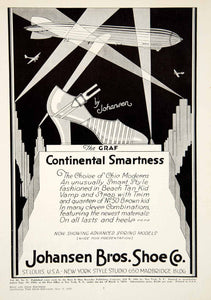 1929 Ad Graf High Heel Shoe Johansen Brother Saint Louis Blimp Aircraft YBSR1 - Period Paper