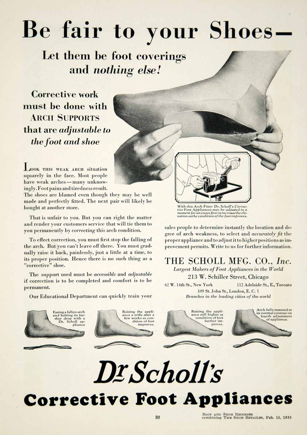1930 Ad Dr. Scholl's Corrective Foot Appliances Arch Support Medical YBSR1