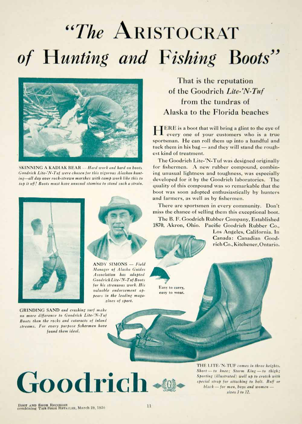 1930 Ad Goodrich Hunting Fishing Boots Men Fashion Shoe Andy Simons Lake YBSR1