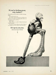 1973 Ad American Cancer Society Preventive Care Health Checkup Ostrich Head YBX1