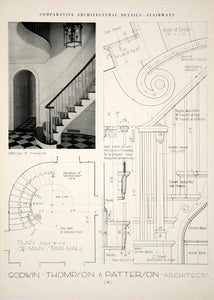 1937 Print Godwin Thompson Patterson Bannister Stairway Baluster Newel YCA1