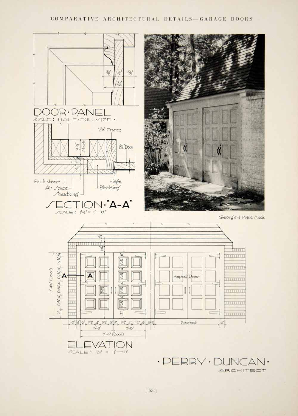1937 Print Elevation Perry Duncan Garage Doors Architecture Panel Elevation YCA1