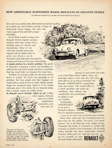 1962 Ad Renault Aerostable Suspension Ondine Dauphine French Supermini Car YCD1