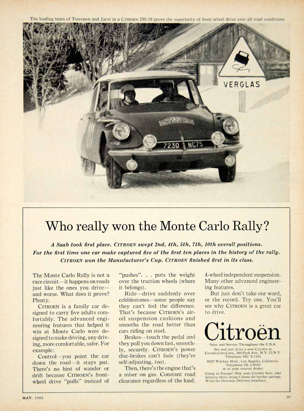 1963 Ad Citroen DS19 4Door Sedan MidSize Car Monte Carlo Rally YCD2