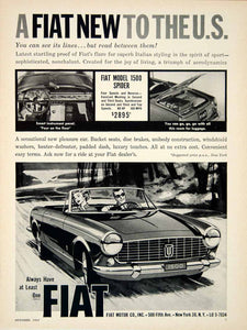 1963 Ad 1964 Fiat Model 1500 Spider 2 Door Coupe Convertible Sports Car YCD2