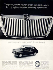 1963 Ad 1964 MG Sports Sedan 2 Door British Import Grille Family Car YCD2