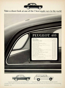 1964 Ad Peugeot 403 4Door Sedan French Import Car Pinifarina 1.2L I4 Engine YCD3