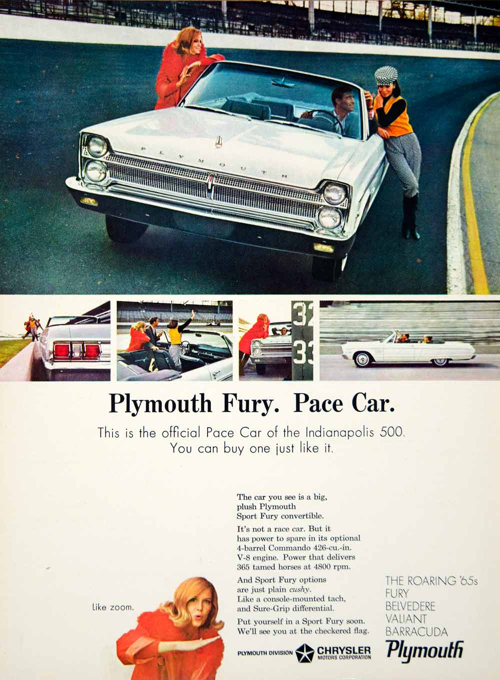 1965 Ad Plymouth Fury 2 Door Pace Car Full Size Convertible Racing Speedway YCD3
