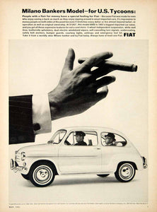 1965 Ad Fiat 600D 2 Door Sedan Italian Import Car Banker US Tycoon Cigar YCD3
