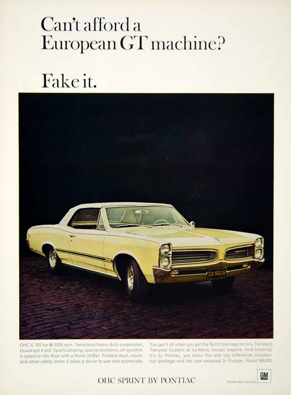 1966 Ad Pontiac Tempest 2 Door Hardtop Coupe Mid Size Sprint Package 230 YCD4