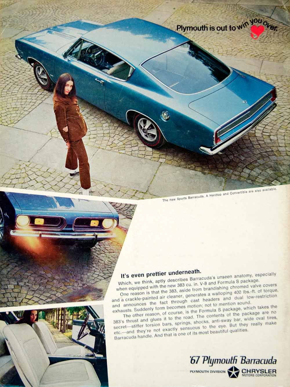 1967 Ad Plymouth Barracuda 2 Door Hardtop Coupe Pony Car Fastback A-Body YCD5