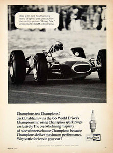 1967 Ad Champion Spark Plugs Jack Brabham Grand Prix Formula 1 Race Car YCD5