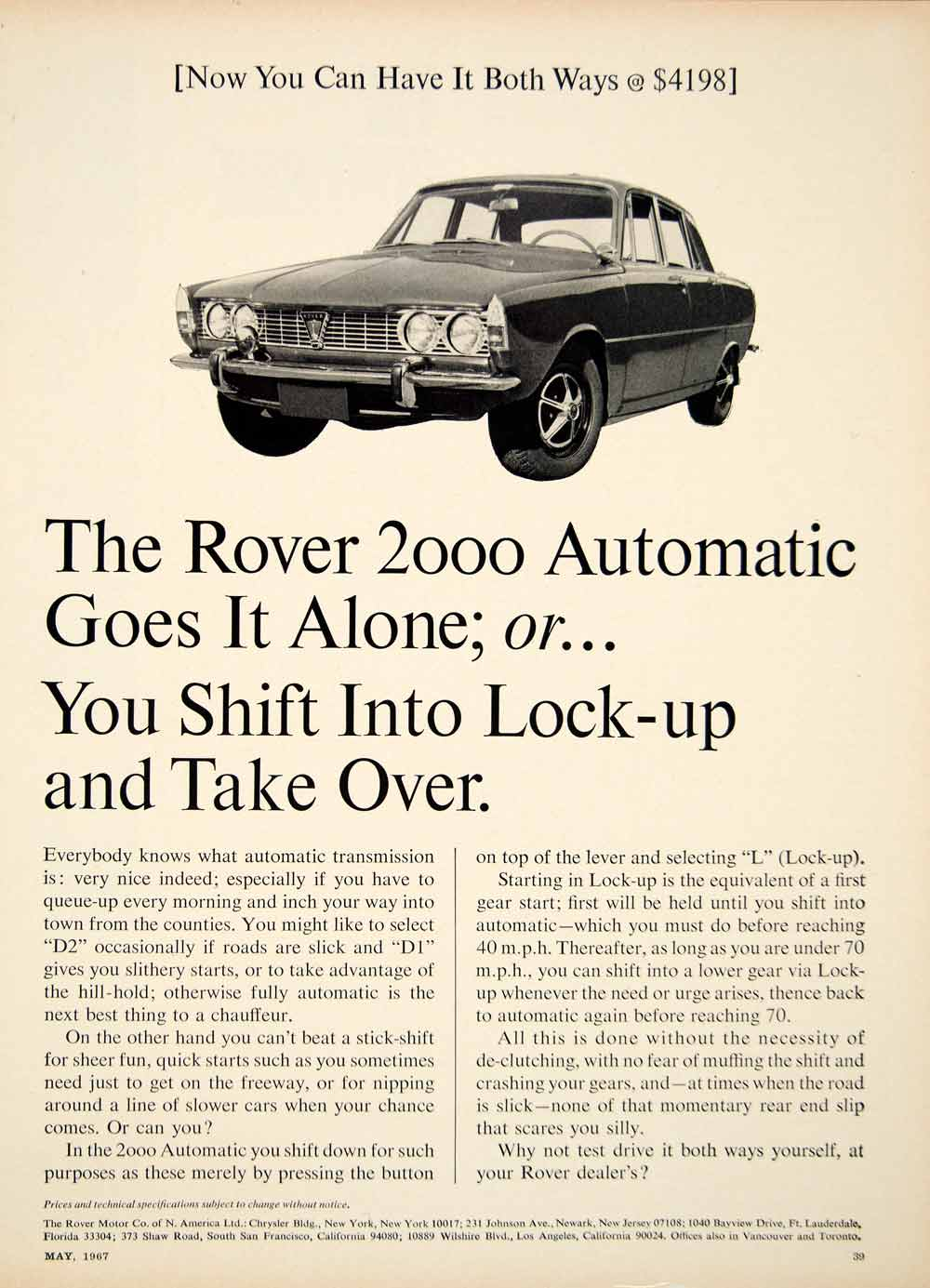 1967 Ad Rover 2000 P6 4 Door Saloon UK Import Car Automatic Transmission YCD5