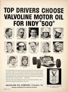 1967 Ad Valvoline Motor Oil Indianapolis 500 Race Car Driver Engine YCD5