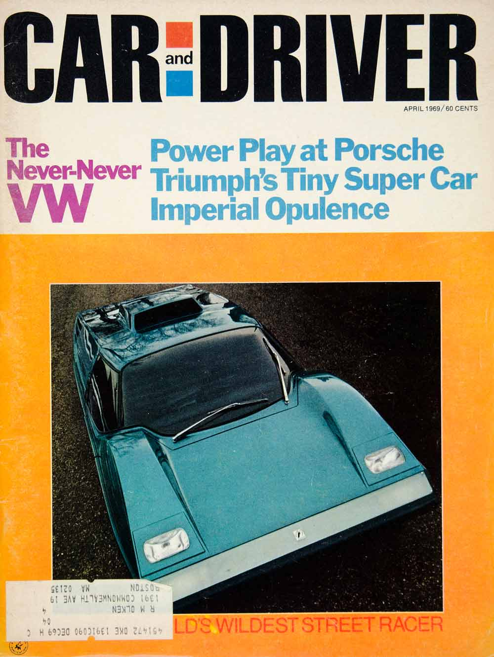 1969 Cover Car Driver McLaren MK I GT Racing Chassis 2 Door Coupe UK Import YCD7