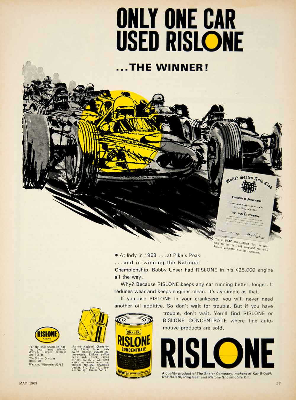 1969 Ad Shaler Rislone Concentrate Motor Oil Automotive Racing Car Bobby YCD7