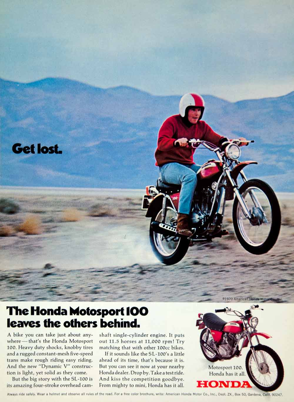 1970 Ad Honda Motorsport 100 Classic Motorcycle Transportation Get Lost YCD8