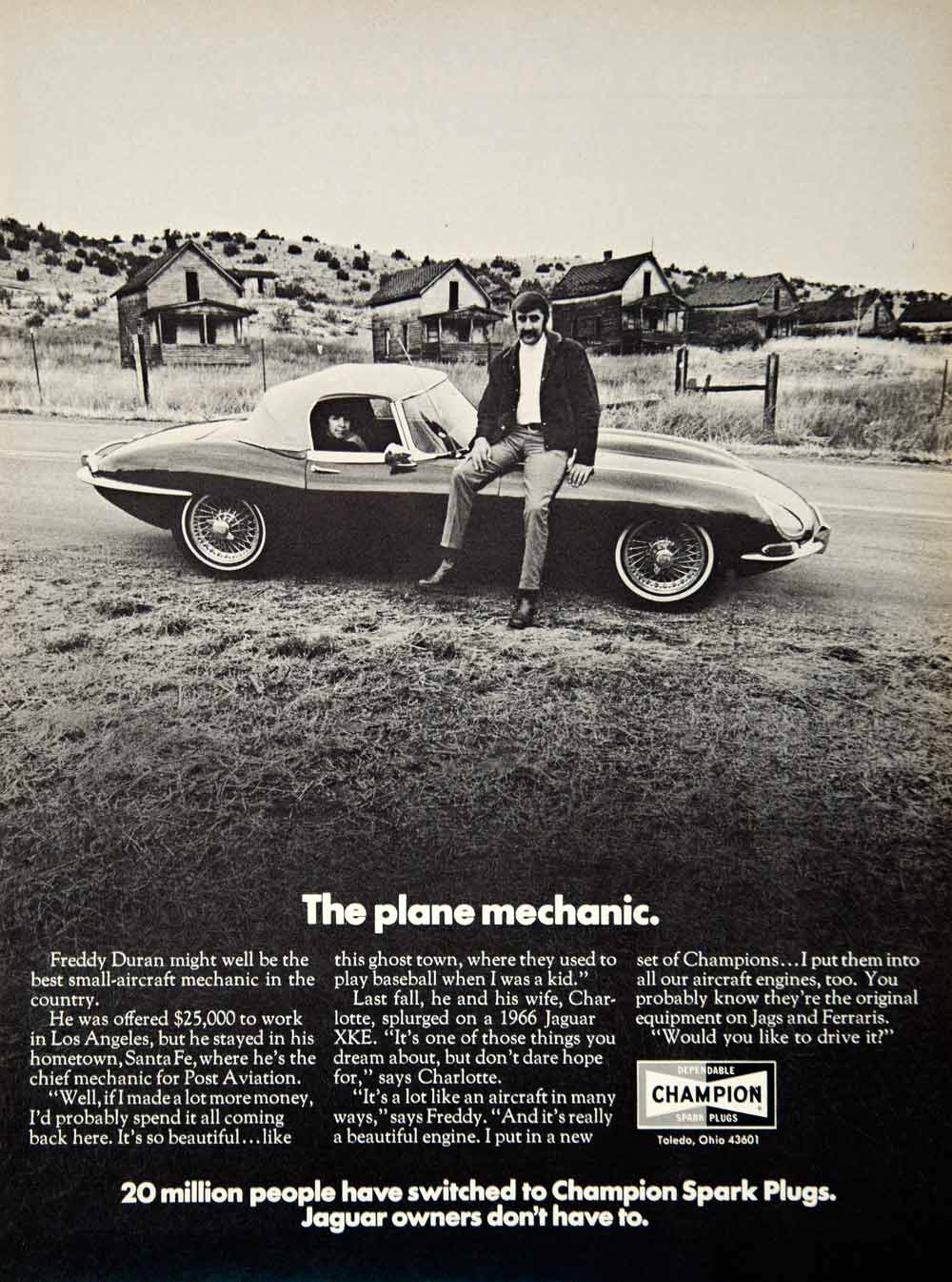 1971 Ad Champion Spark Plugs Auto Parts Freddy Duran 1966 Jaguar XKE Sports YCD8