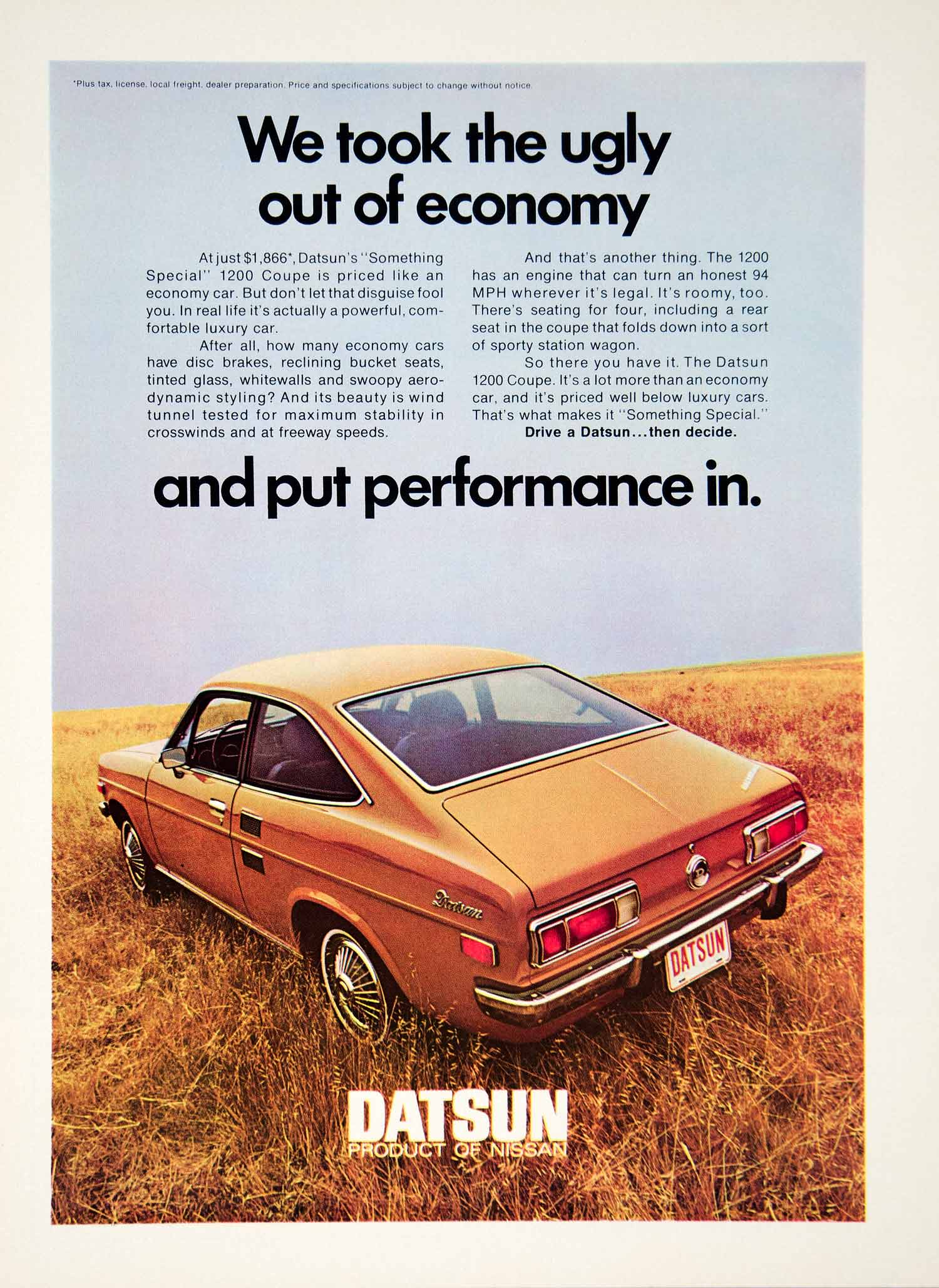 1971 Ad Datsun Nissan 1200 2 Door Coupe Compact Car Ugly Economy Automobile YCD8