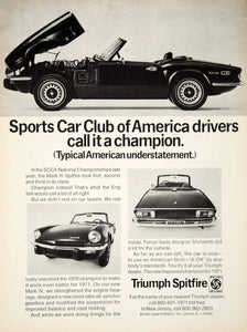 1971 Ad Triumph Spitfire 2 Door Roadster Sports Car British Leyland YCD8