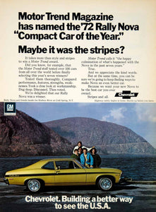 1972 Ad Chevrolet Nova Rally Sport 2Door Compact Car Hudson River Cold YCD8