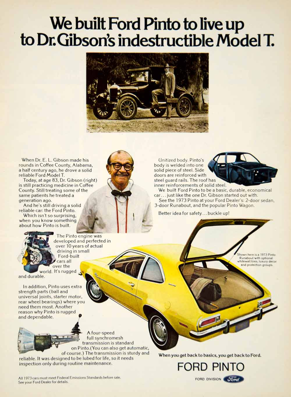 1972 Ad 1973 Ford Pinto 3 Door Hatchback Runabout Model T EL Gibson YCD8