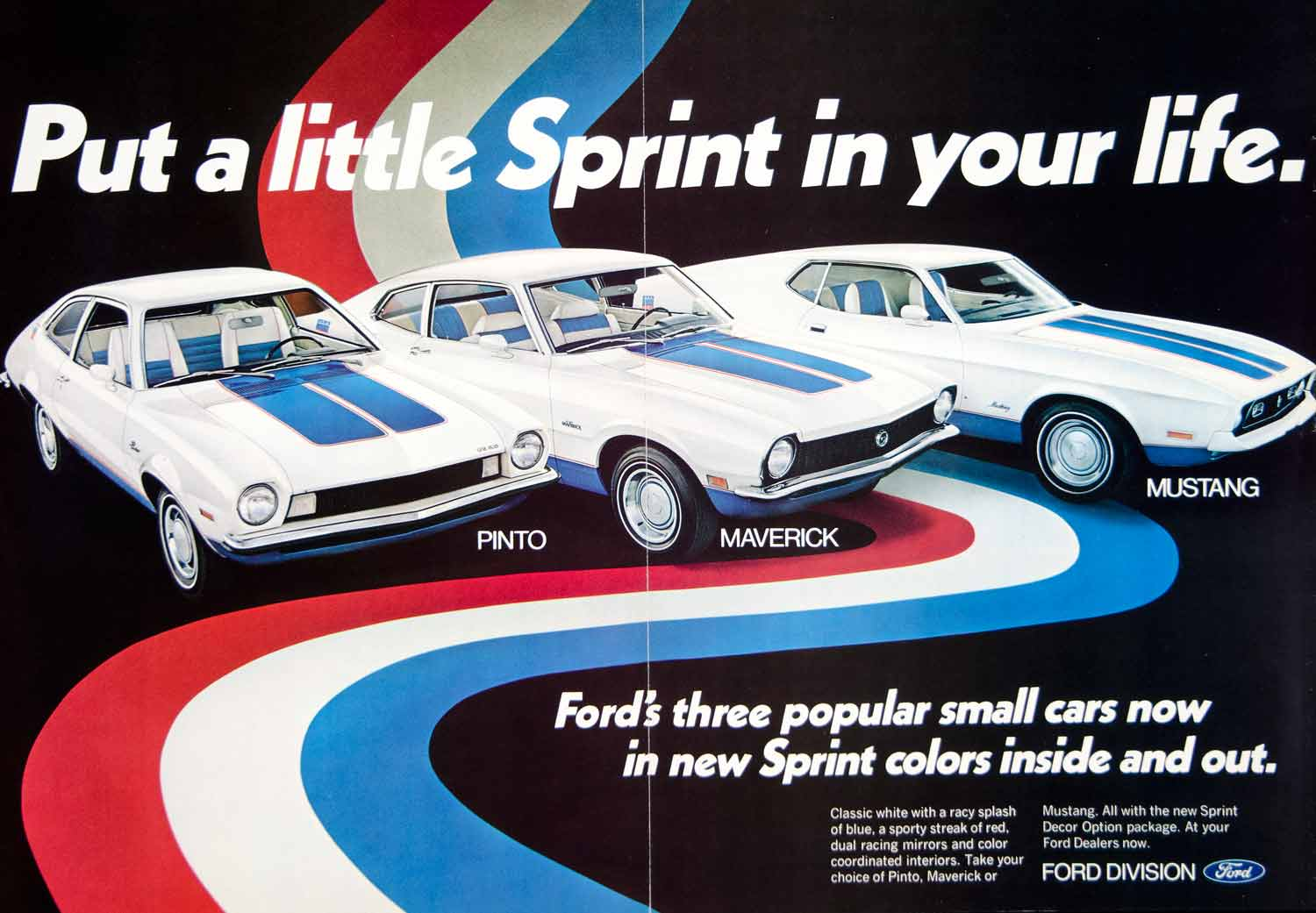 1972 ad ford pinto maverick mustang sprint red white blue patriotic racy ycd8