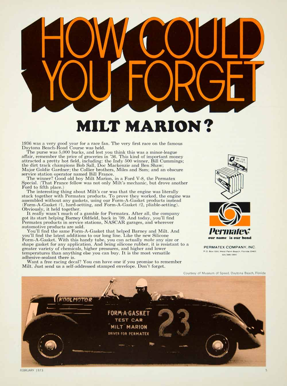 1973 Ad Permatex Form-A-Gasket Engine Part Automotive Milt Marion Race Car YCD9