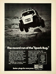 1973 Ad Champion Spark Plugs Off-Road Racing VW Sedan Bug Don Ernst Dave YCD9