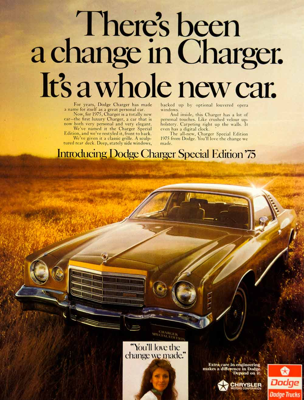 1974 Ad 1975 Dodge Charger Special Edition 2 Door Coupe Fourth Generation YCD9