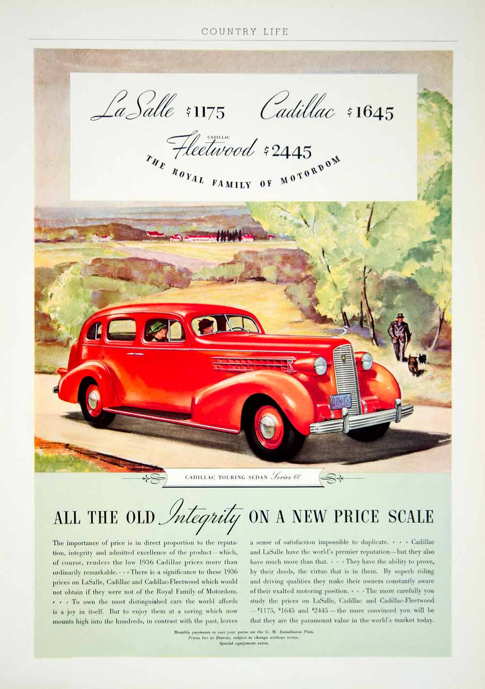 1936 Ad Cadillac Touring Sedan Series 60 Automobile Car LaSalle Charleson YCL2