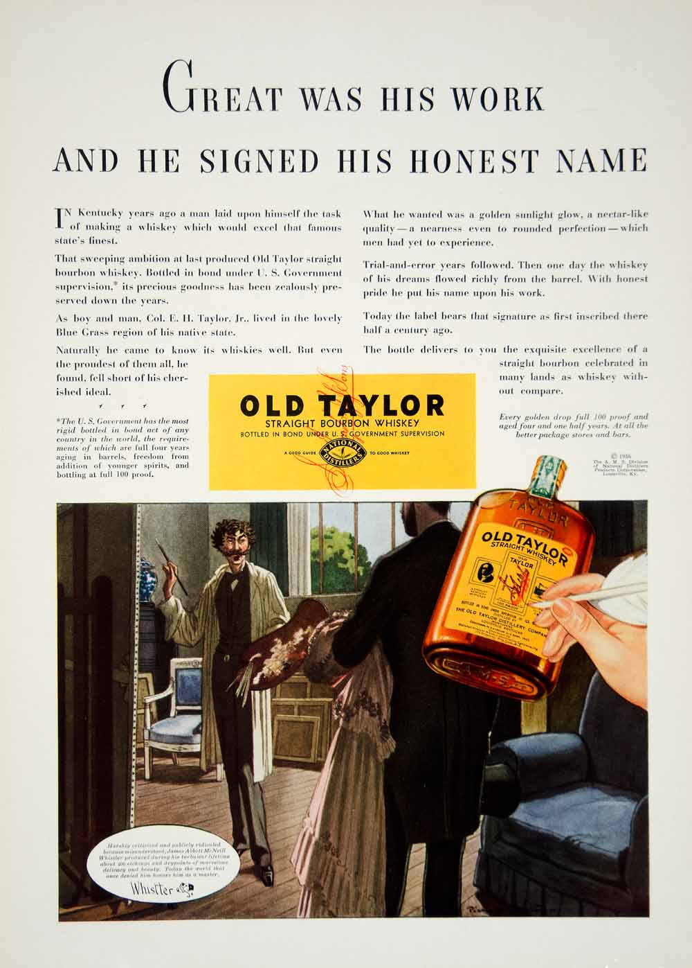 1936 Ad Old Taylor Bourbon Whiskey James AM Whistler Art Distillery Liquor YCL2
