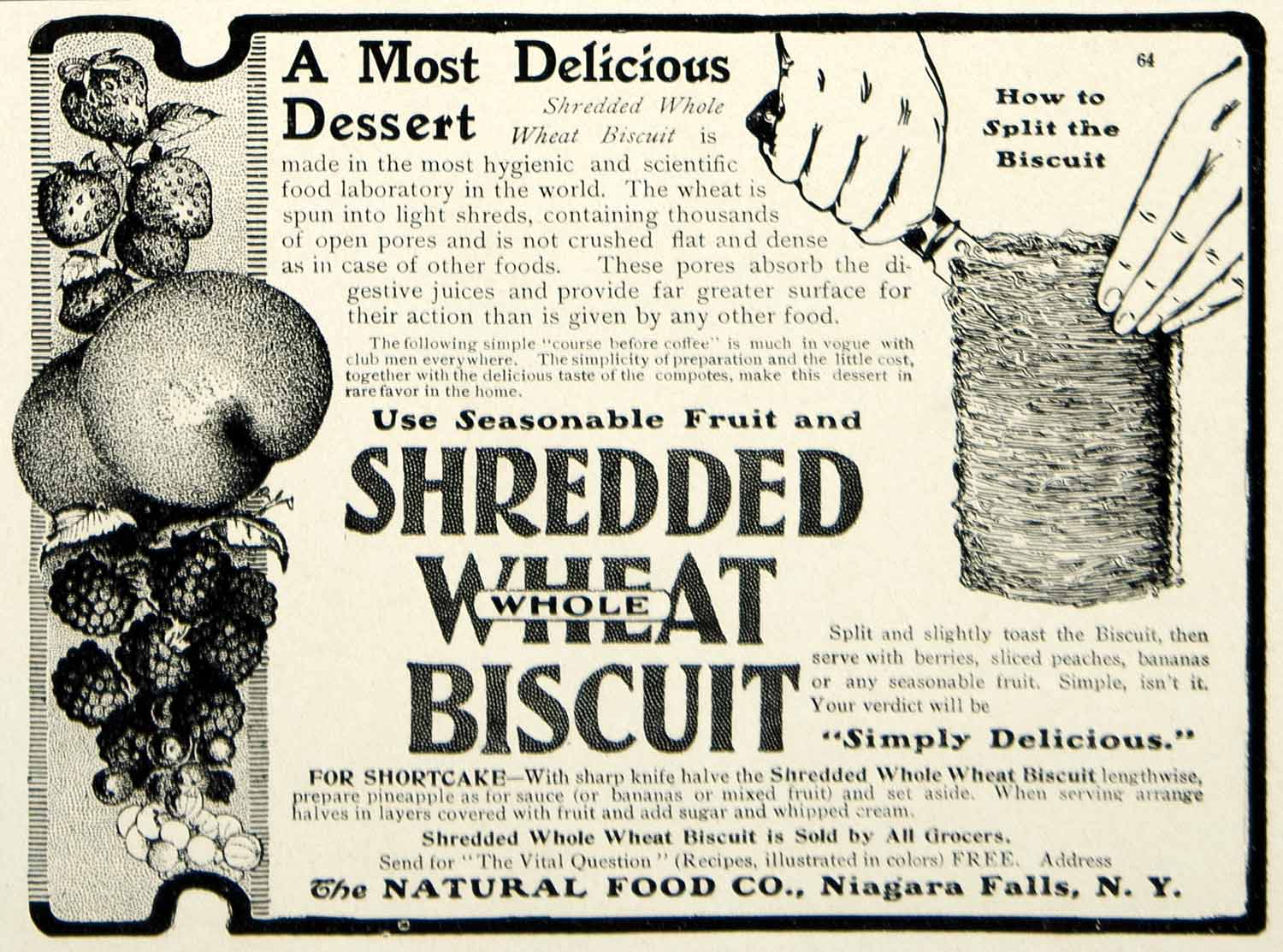 1903 Ad Natural Food Shredded Wheat Biscuit Breakfast Cereal Shortcake YCL2