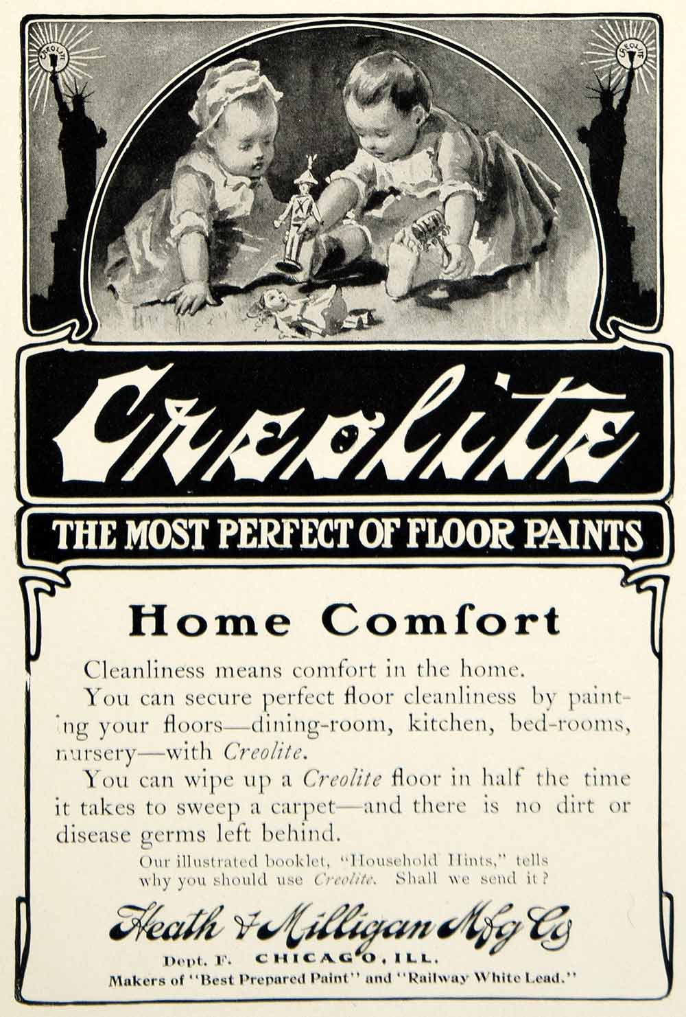 1903 Ad Heath Milligan Creolite Floor Paint Household Home Decor Children YCL2