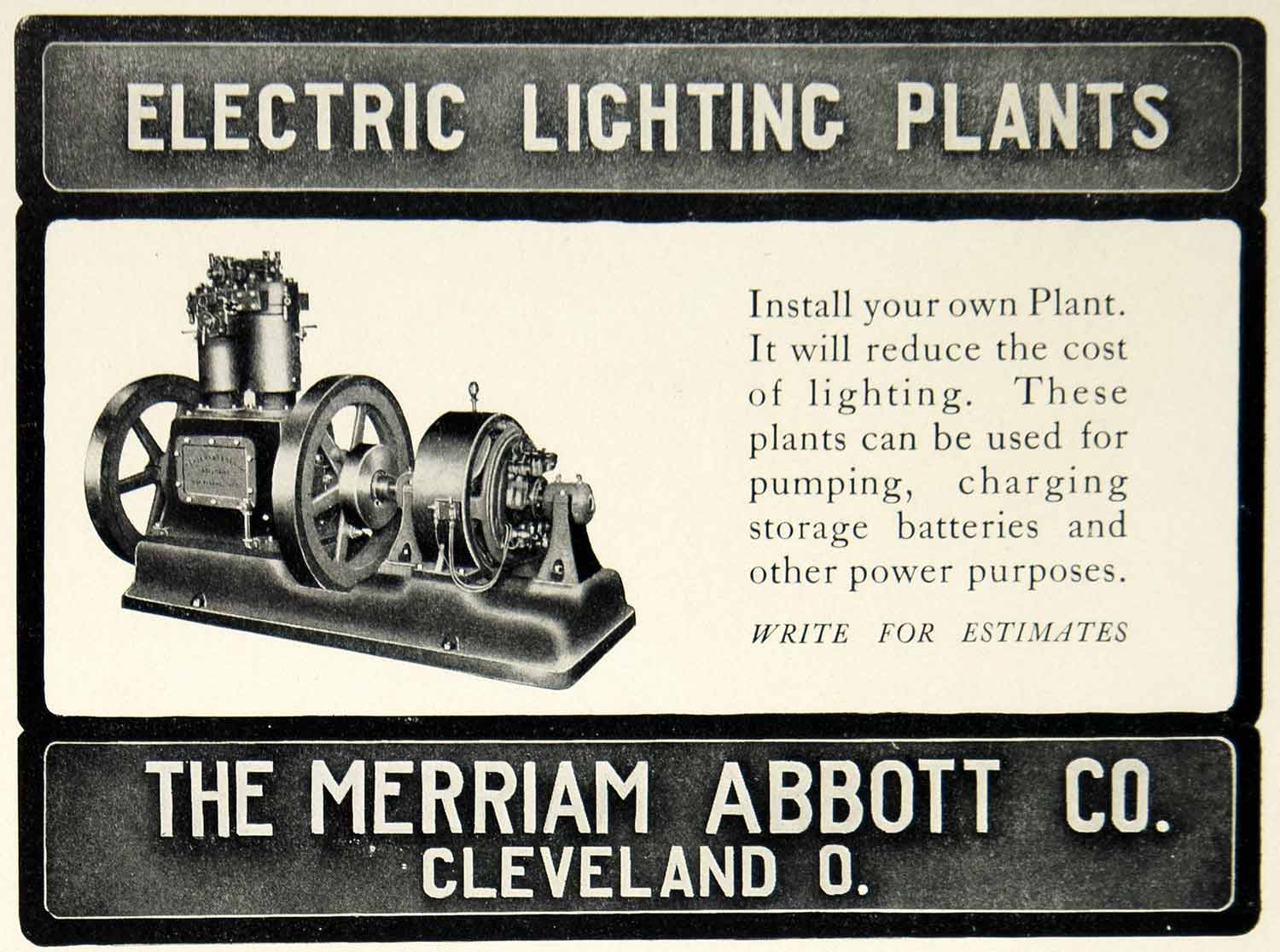 1903 Ad Merriam Abbott Electric Lighting Plants Machine Cleveland OH YCL2