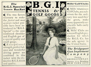 1903 Ad Bridgeport Gun Implement BGI Tennis Racket Golf Clubs Sporting YCL2