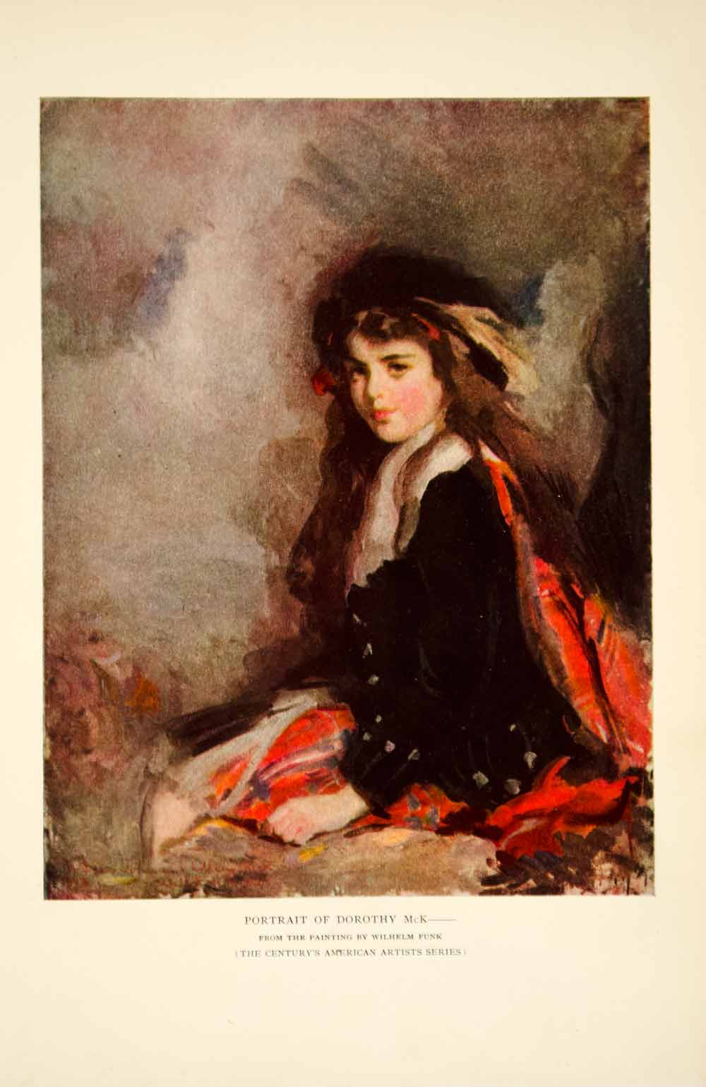 1913 Color Print Wilhelm Funk Art Portrait Dorothy McK Scottish Girl Kilt YCM1
