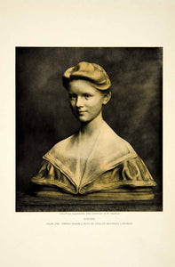 1913 Color Print Evelyn Beatrice Longman Art Louise Marble Bust Sculpture YCM1