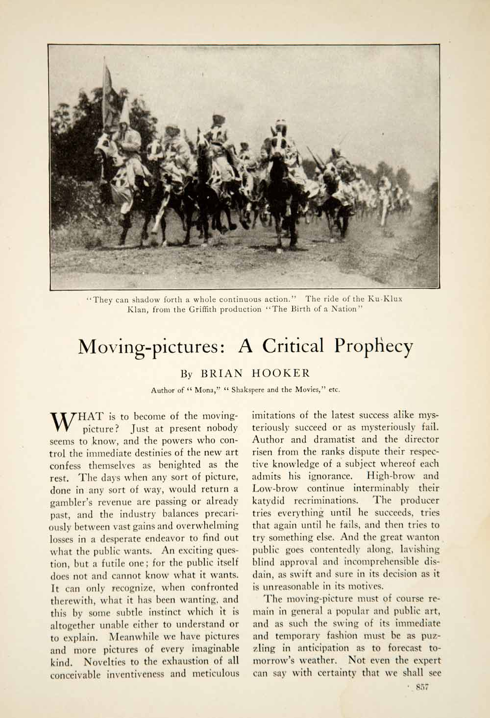1917 Article Silent Film Era Motion Picture Movie Cinema Birth of a Nation YCM1