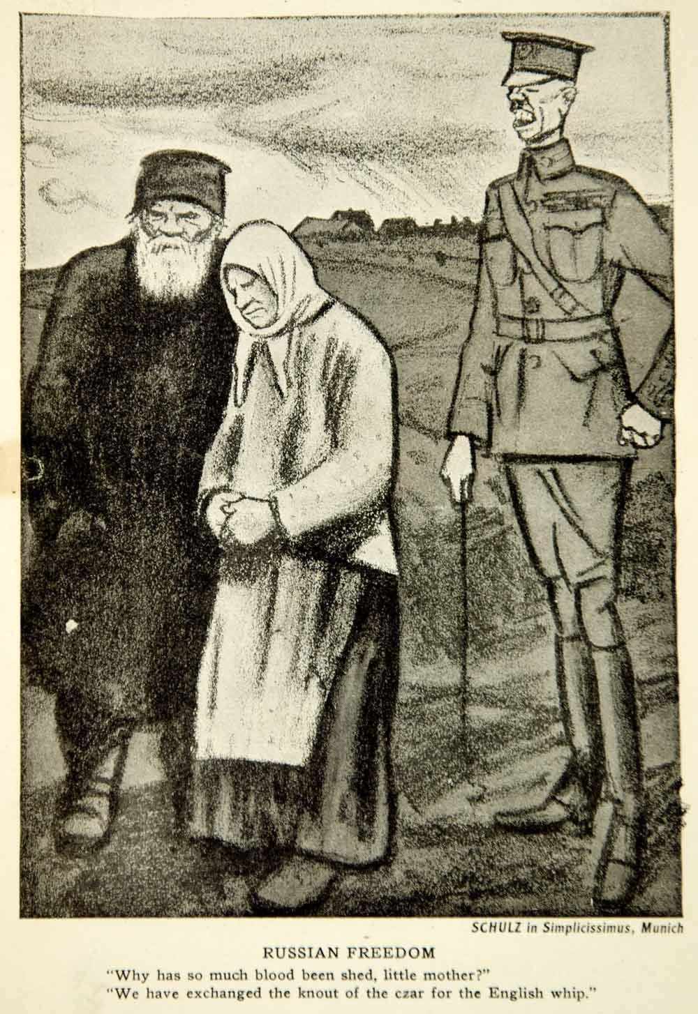 1917 Print World War I Cartoon Wilhelm Schulz Simplicissimus Russian Peasants