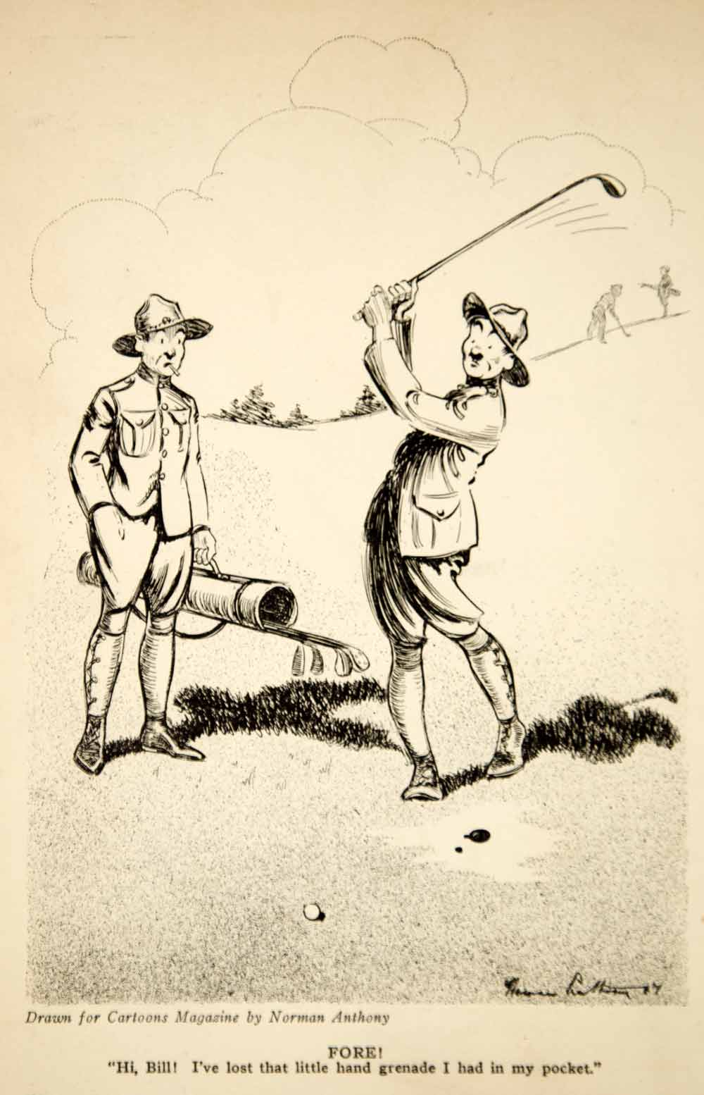 1917 Print World War I Cartoon Art Norman Anthony Soldiers Golfing Grenade Golf