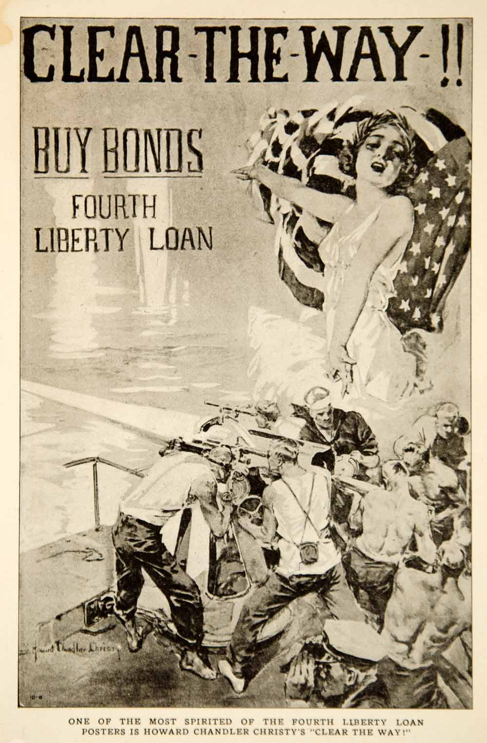 1918 Print World War I Poster Howard Chandler Christy Clear the Way Liberty Bond