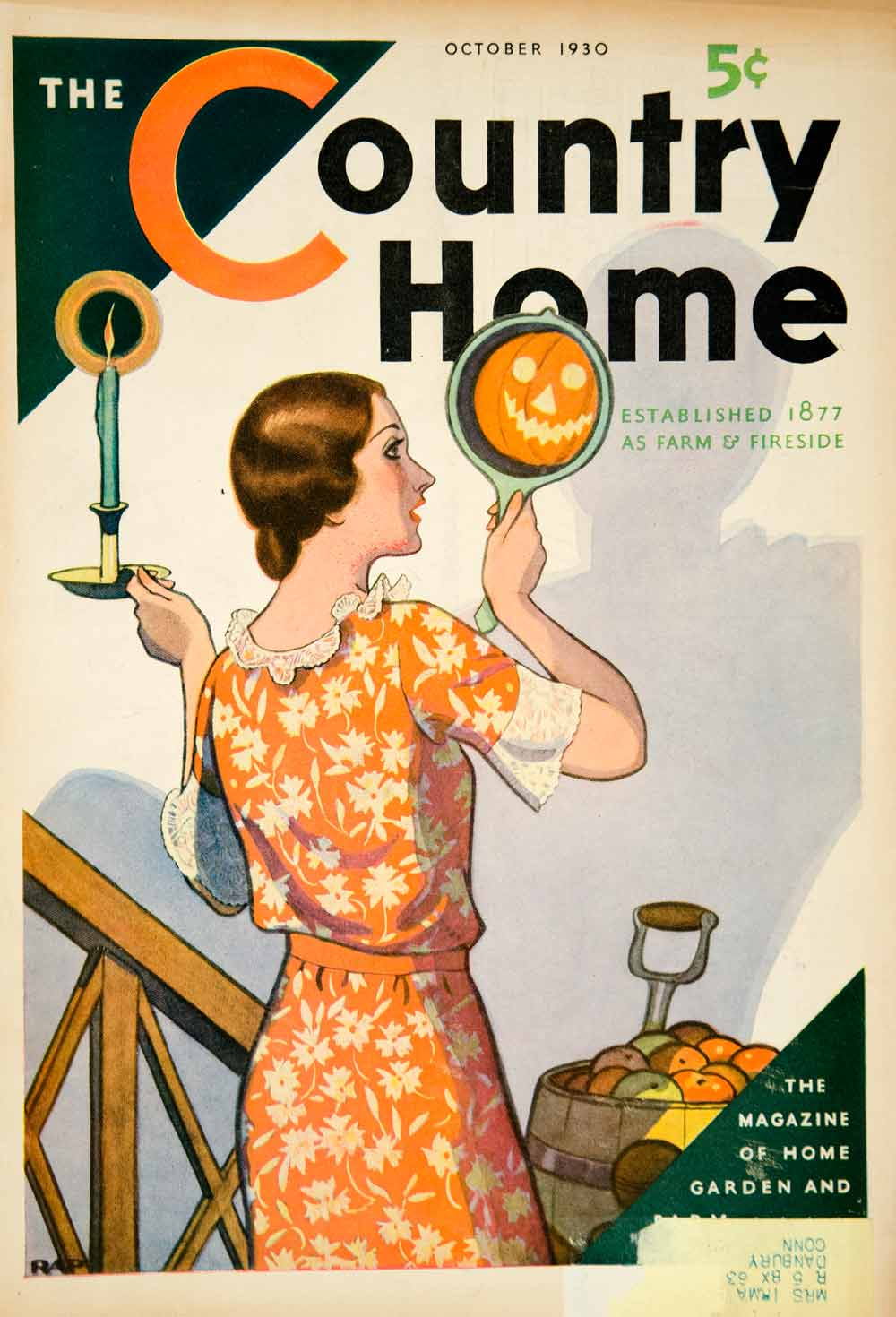 1930 Cover Country Home Robert Patterson Art Halloween Holiday Autumn Fall YCT1